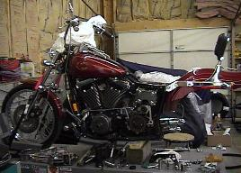 Dyna Wide Glide in process of being customized